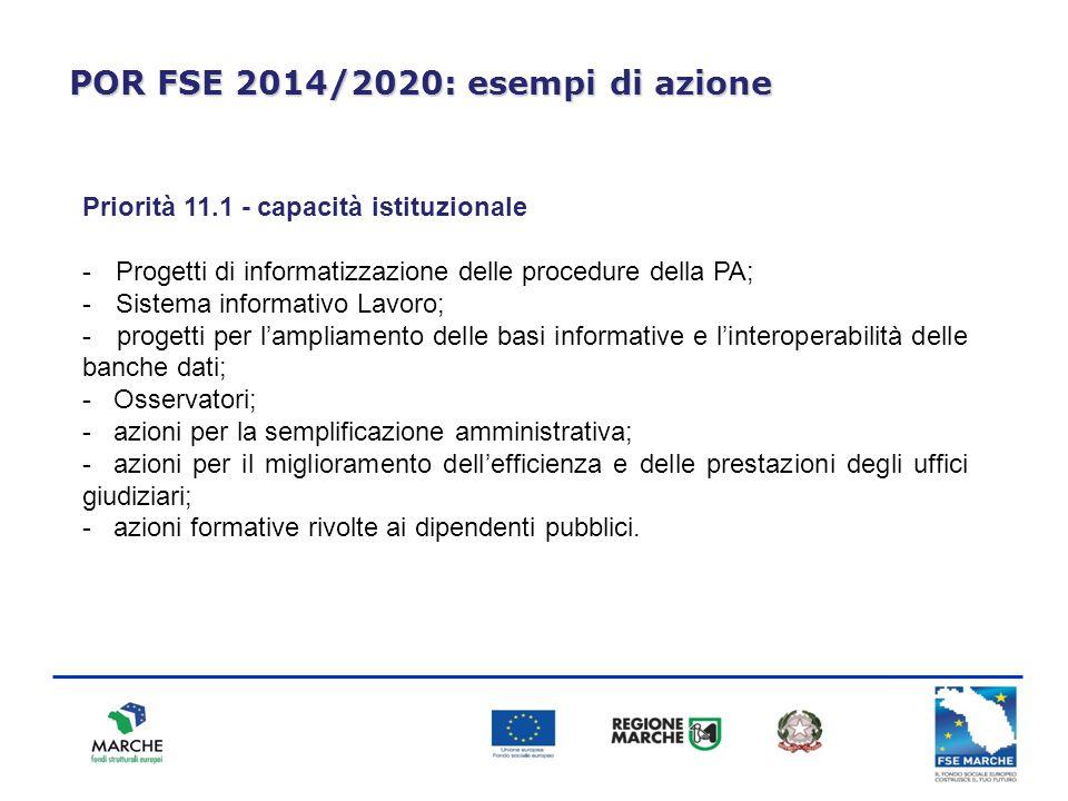 POR FSE 2014/2020: esempi di azione Priorità 11.1 - capacità istituzionale -Progetti di informatizzazione delle procedure della PA; -Sistema informati