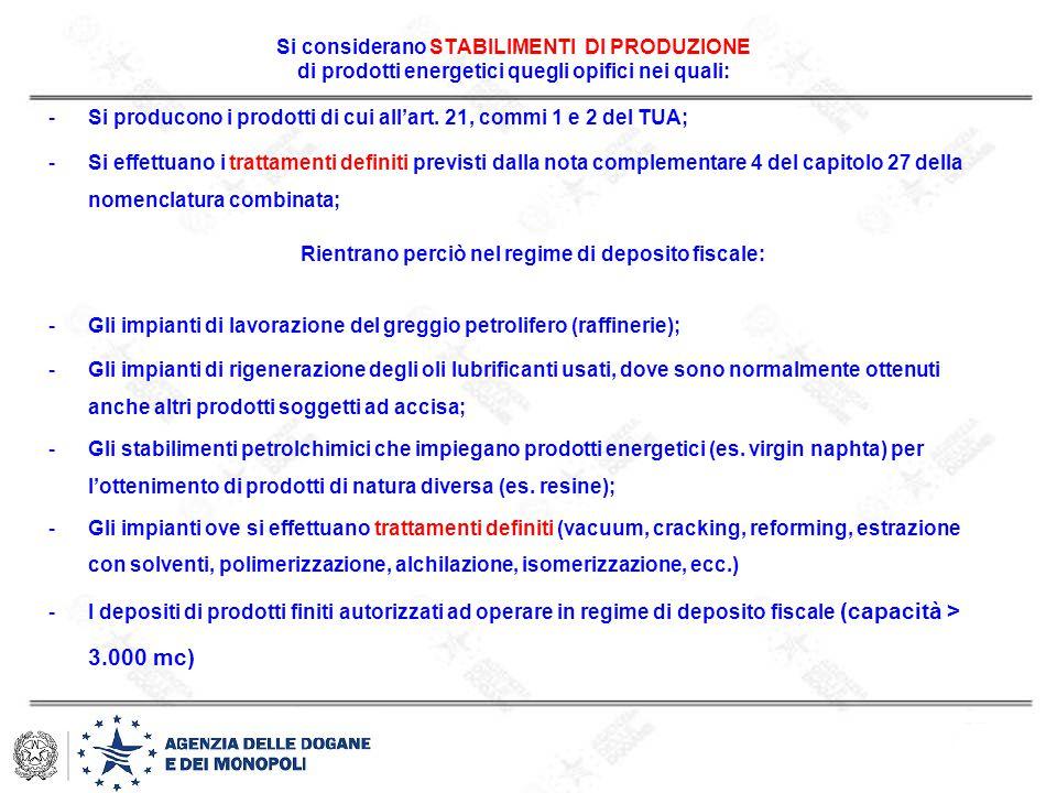 Si considerano STABILIMENTI DI PRODUZIONE di prodotti energetici quegli opifici nei quali: -Si producono i prodotti di cui all'art. 21, commi 1 e 2 de