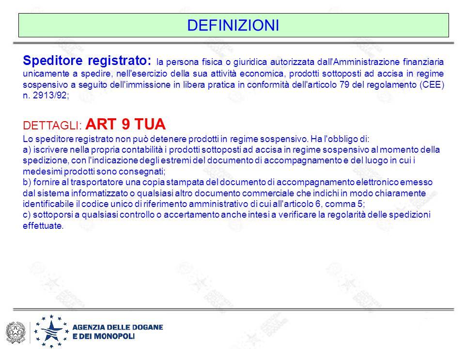 DEFINIZIONI Speditore registrato: la persona fisica o giuridica autorizzata dall'Amministrazione finanziaria unicamente a spedire, nell'esercizio dell