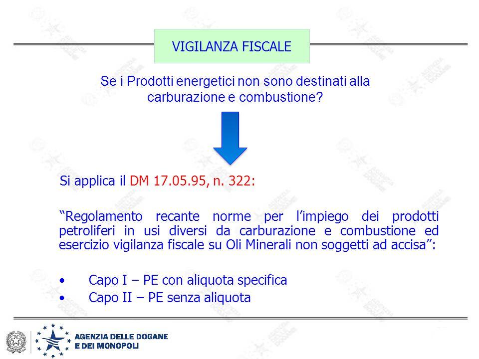 """VIGILANZA FISCALE Si applica il DM 17.05.95, n. 322: """"Regolamento recante norme per l'impiego dei prodotti petroliferi in usi diversi da carburazione"""