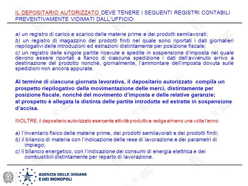 IL DEPOSITARIO AUTORIZZATO DEVE TENERE I SEGUENTI REGISTRI CONTABILI PREVENTIVAMENTE VIDIMATI DALL'UFFICIO: a) un registro di carico e scarico delle m