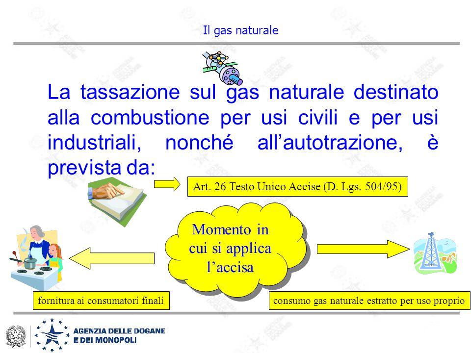 La tassazione sul gas naturale destinato alla combustione per usi civili e per usi industriali, nonché all'autotrazione, è prevista da: Art. 26 Testo