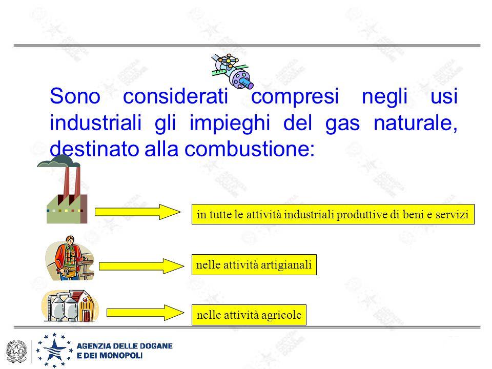 Sono considerati compresi negli usi industriali gli impieghi del gas naturale, destinato alla combustione: in tutte le attività industriali produttive