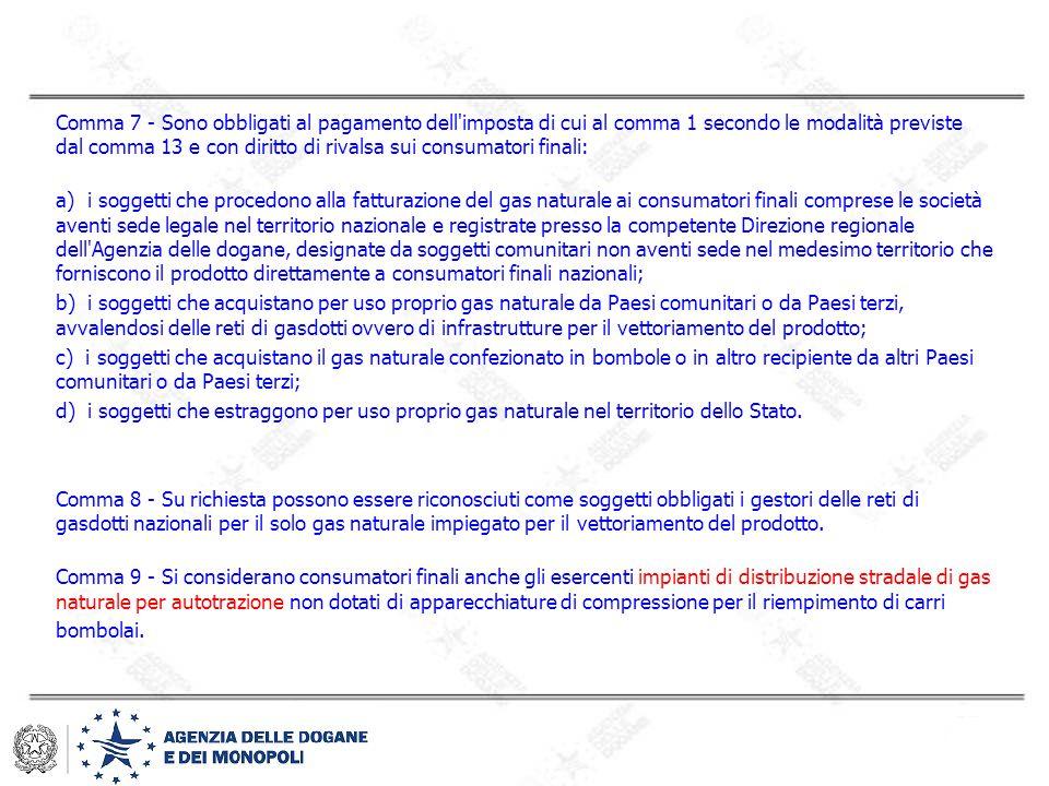Comma 7 - Sono obbligati al pagamento dell'imposta di cui al comma 1 secondo le modalità previste dal comma 13 e con diritto di rivalsa sui consumator