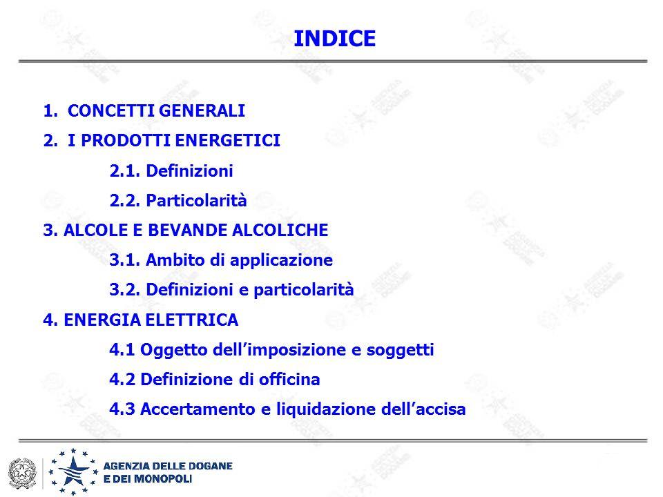 INDICE 1.CONCETTI GENERALI 2.I PRODOTTI ENERGETICI 2.1. Definizioni 2.2. Particolarità 3. ALCOLE E BEVANDE ALCOLICHE 3.1. Ambito di applicazione 3.2.