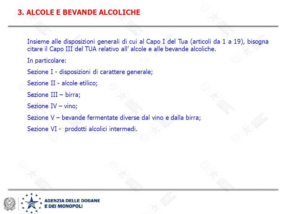 Insieme alle disposizioni generali di cui al Capo I del Tua (articoli da 1 a 19), bisogna citare il Capo III del TUA relativo all' alcole e alle bevan