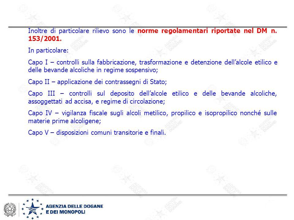 Inoltre di particolare rilievo sono le norme regolamentari riportate nel DM n. 153/2001. In particolare: Capo I – controlli sulla fabbricazione, trasf
