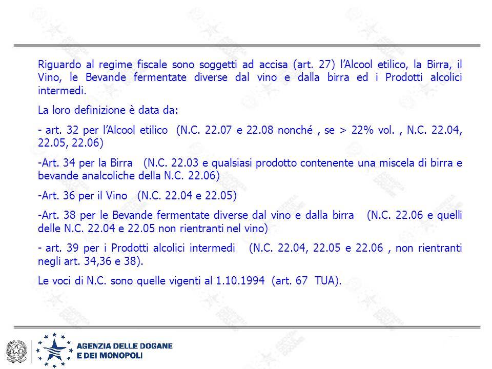 Riguardo al regime fiscale sono soggetti ad accisa (art. 27) l'Alcool etilico, la Birra, il Vino, le Bevande fermentate diverse dal vino e dalla birra