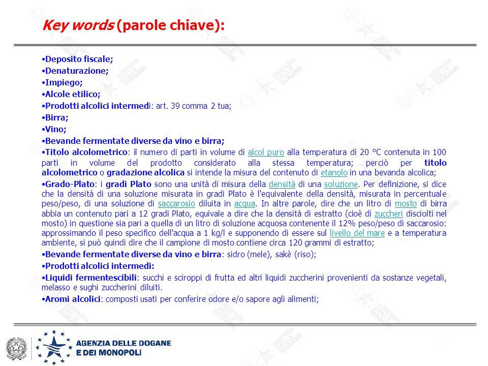 Key words (parole chiave): Deposito fiscale; Denaturazione; Impiego; Alcole etilico; Prodotti alcolici intermedi: art. 39 comma 2 tua; Birra; Vino; Be