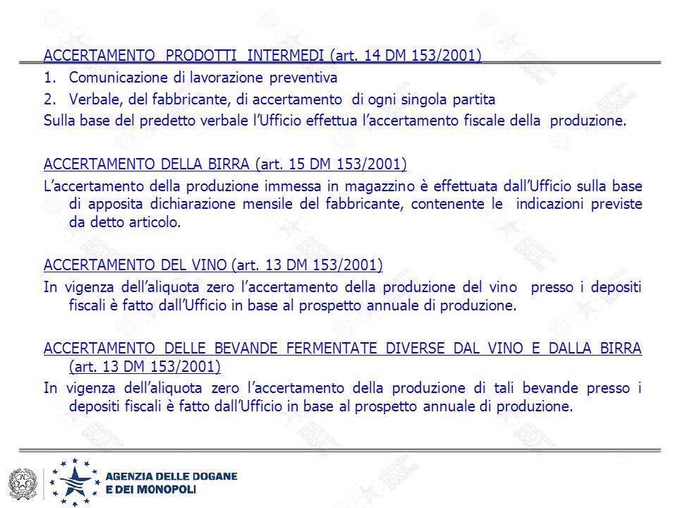 ACCERTAMENTO PRODOTTI INTERMEDI (art. 14 DM 153/2001) 1.Comunicazione di lavorazione preventiva 2.Verbale, del fabbricante, di accertamento di ogni si