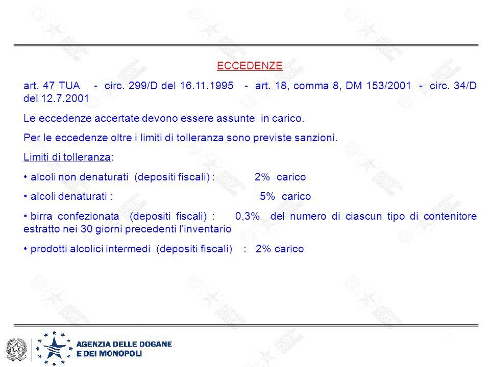 ECCEDENZE art. 47 TUA - circ. 299/D del 16.11.1995 - art. 18, comma 8, DM 153/2001 - circ. 34/D del 12.7.2001 Le eccedenze accertate devono essere ass