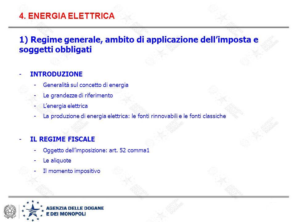 4. ENERGIA ELETTRICA 1) Regime generale, ambito di applicazione dell'imposta e soggetti obbligati -INTRODUZIONE -Generalità sul concetto di energia -L