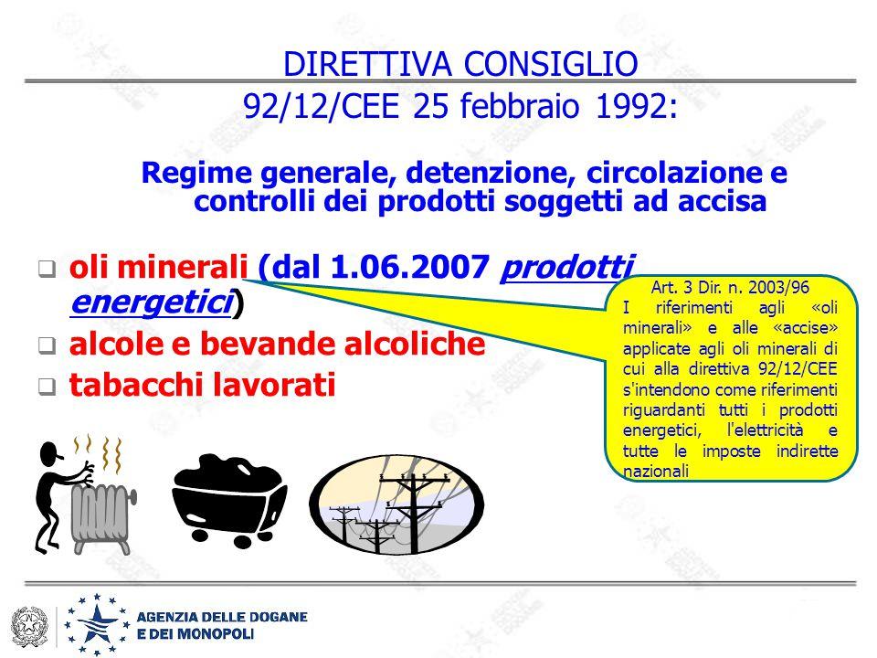 DIRETTIVA CONSIGLIO 92/12/CEE 25 febbraio 1992: Regime generale, detenzione, circolazione e controlli dei prodotti soggetti ad accisa  oli minerali (