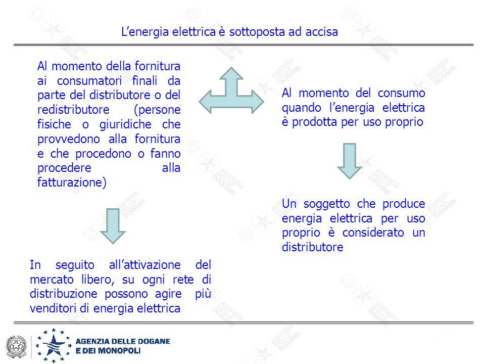 L'energia elettrica è sottoposta ad accisa Al momento della fornitura ai consumatori finali da parte del distributore o del redistributore (persone fi
