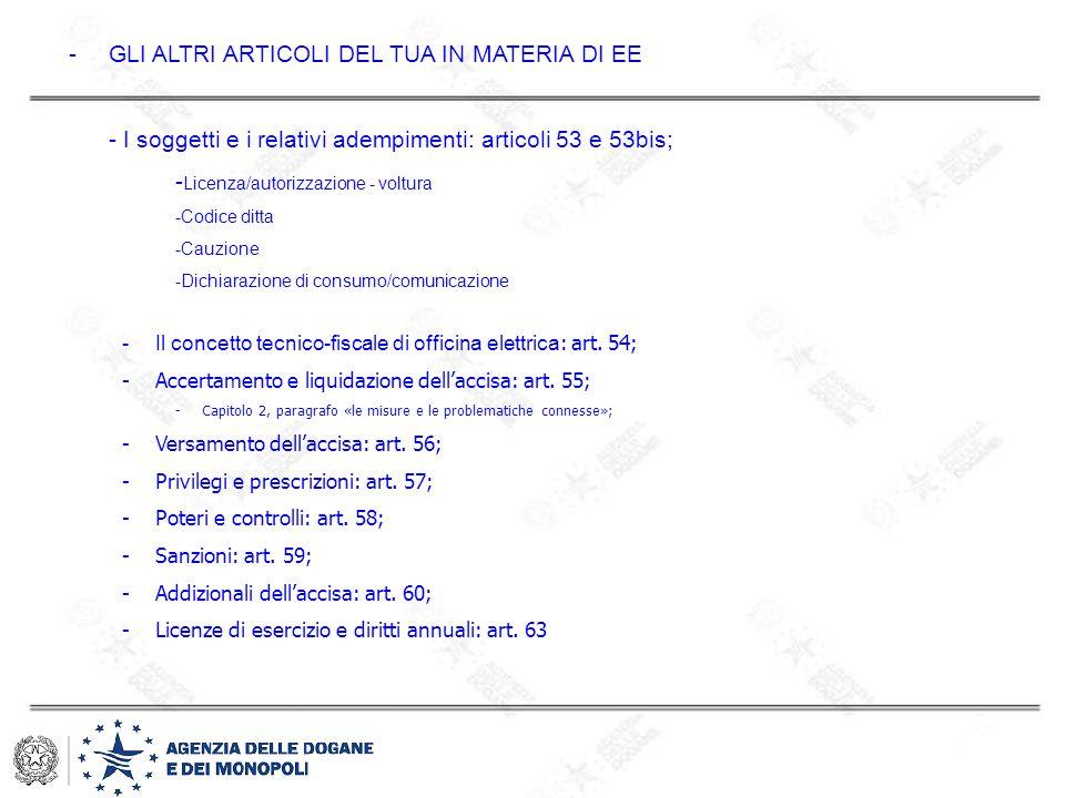 -GLI ALTRI ARTICOLI DEL TUA IN MATERIA DI EE - I soggetti e i relativi adempimenti: articoli 53 e 53bis; - Licenza/autorizzazione - voltura -Codice di