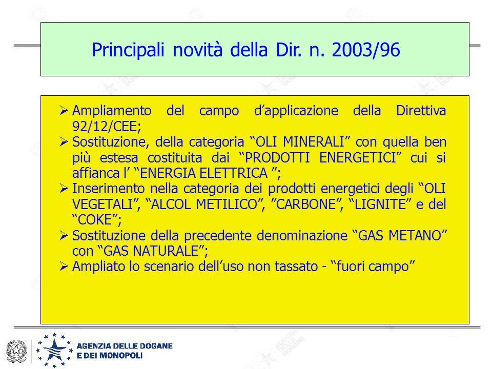 """Principali novità della Dir. n. 2003/96  Ampliamento del campo d'applicazione della Direttiva 92/12/CEE;  Sostituzione, della categoria """"OLI MINERAL"""