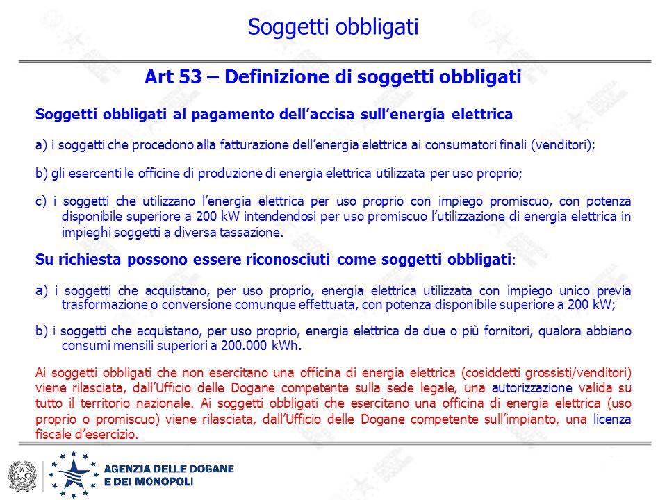 Soggetti obbligati Art 53 – Definizione di soggetti obbligati Soggetti obbligati al pagamento dell'accisa sull'energia elettrica a) i soggetti che pro