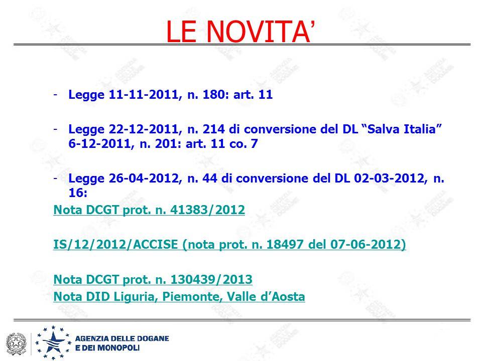 "LE NOVITA ' -Legge 11-11-2011, n. 180: art. 11 -Legge 22-12-2011, n. 214 di conversione del DL ""Salva Italia"" 6-12-2011, n. 201: art. 11 co. 7 -Legge"