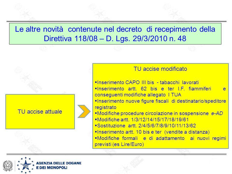 Le altre novità contenute nel decreto di recepimento della Direttiva 118/08 – D. Lgs. 29/3/2010 n. 48 TU accise attuale TU accise modificato  Inserim