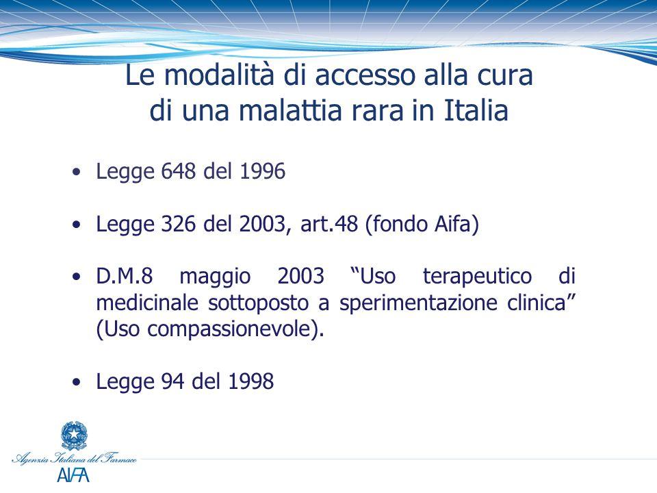 """Legge 648 del 1996 Legge 326 del 2003, art.48 (fondo Aifa) D.M.8 maggio 2003 """"Uso terapeutico di medicinale sottoposto a sperimentazione clinica"""" (Uso"""