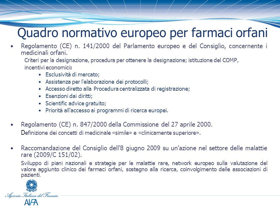 Quadro normativo europeo per farmaci orfani Regolamento (CE) n. 141/2000 del Parlamento europeo e del Consiglio, concernente i medicinali orfani. Crit
