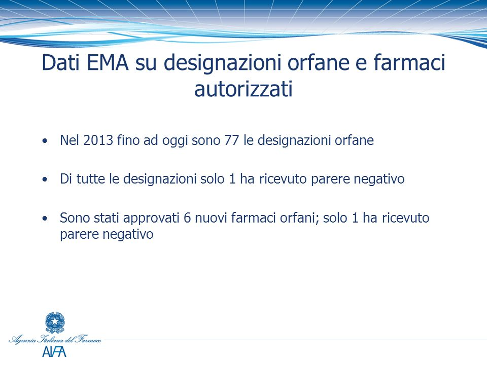 Dati EMA su designazioni orfane e farmaci autorizzati Nel 2013 fino ad oggi sono 77 le designazioni orfane Di tutte le designazioni solo 1 ha ricevuto