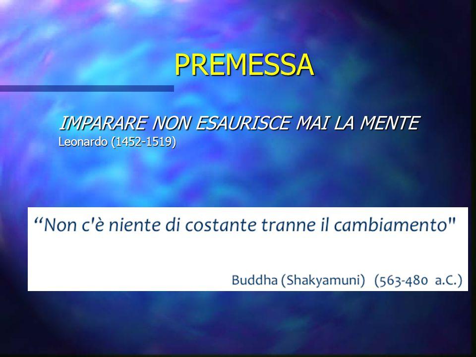 PREMESSA IMPARARE NON ESAURISCE MAI LA MENTE Leonardo (1452-1519)