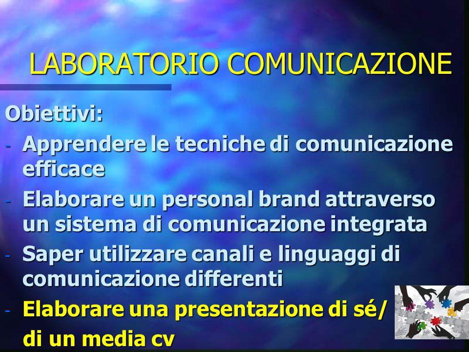 LABORATORIO COMUNICAZIONE Obiettivi: - Apprendere le tecniche di comunicazione efficace - Elaborare un personal brand attraverso un sistema di comunicazione integrata - Saper utilizzare canali e linguaggi di comunicazione differenti - Elaborare una presentazione di sé/ di un media cv di un media cv