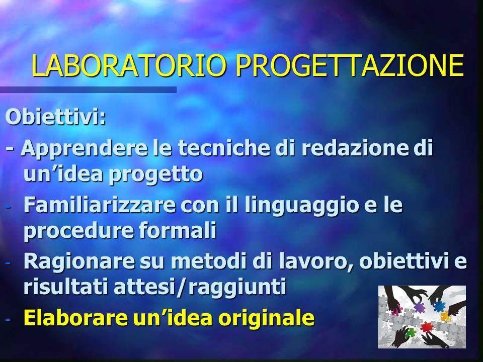LABORATORIO PROGETTAZIONE Obiettivi: - Apprendere le tecniche di redazione di un'idea progetto - Familiarizzare con il linguaggio e le procedure formali - Ragionare su metodi di lavoro, obiettivi e risultati attesi/raggiunti - Elaborare un'idea originale