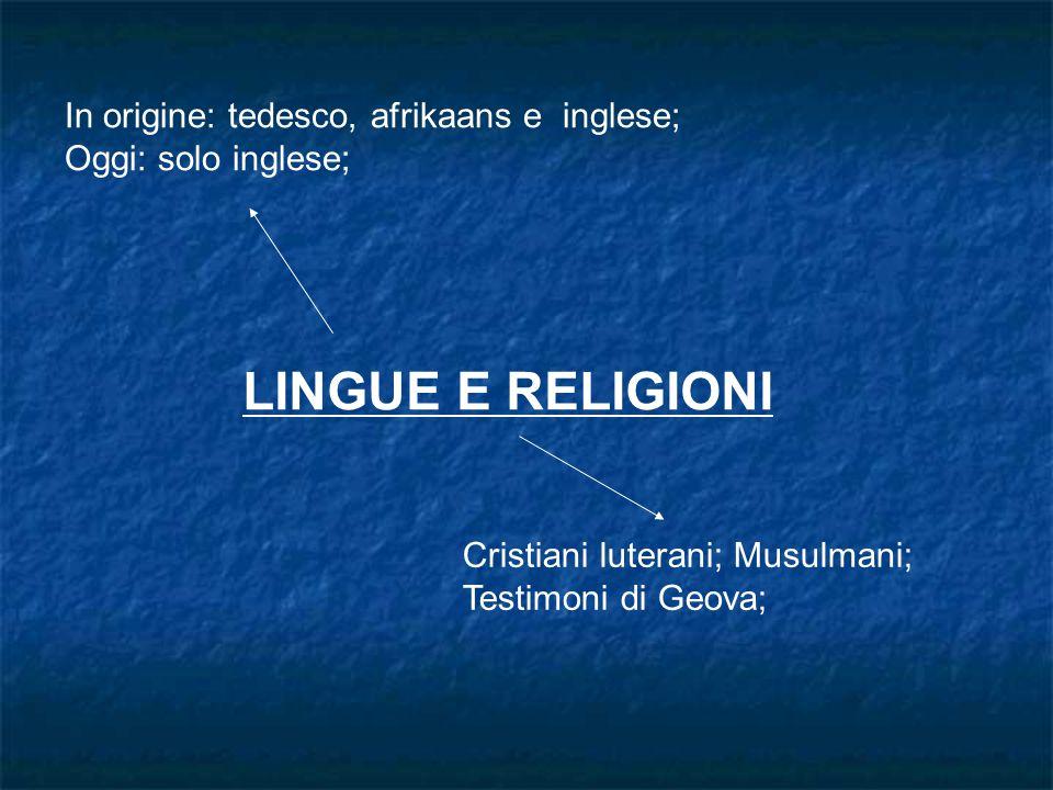 LINGUE E RELIGIONI In origine: tedesco, afrikaans e inglese; Oggi: solo inglese; Cristiani luterani; Musulmani; Testimoni di Geova;