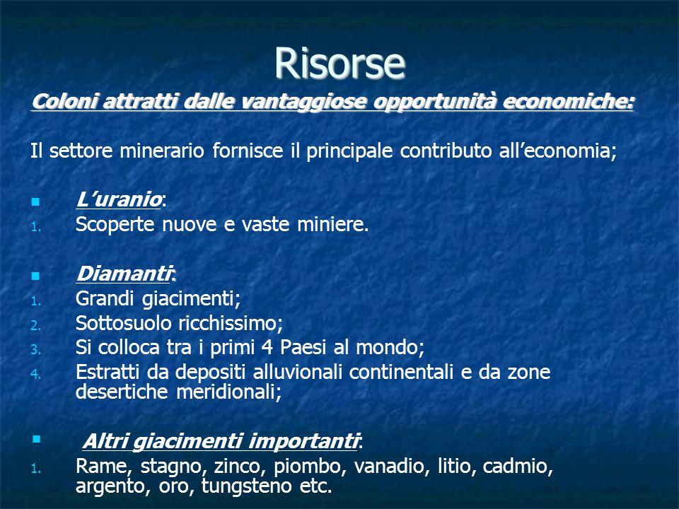 Risorse Coloni attratti dalle vantaggiose opportunità economiche: Il settore minerario fornisce il principale contributo all'economia; L'uranio: 1.