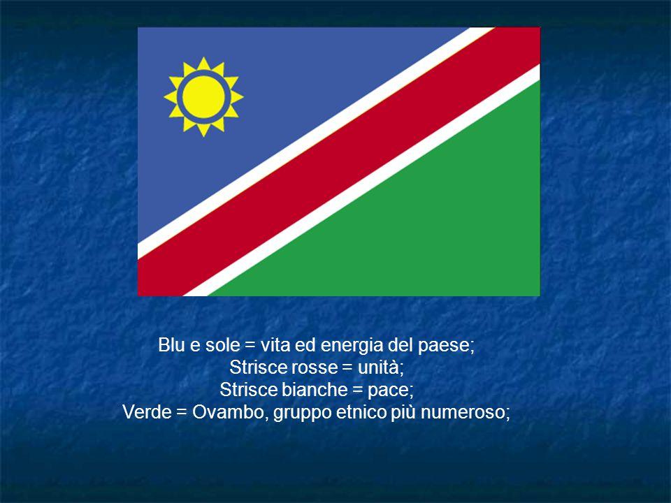 Blu e sole = vita ed energia del paese; Strisce rosse = unità; Strisce bianche = pace; Verde = Ovambo, gruppo etnico più numeroso;