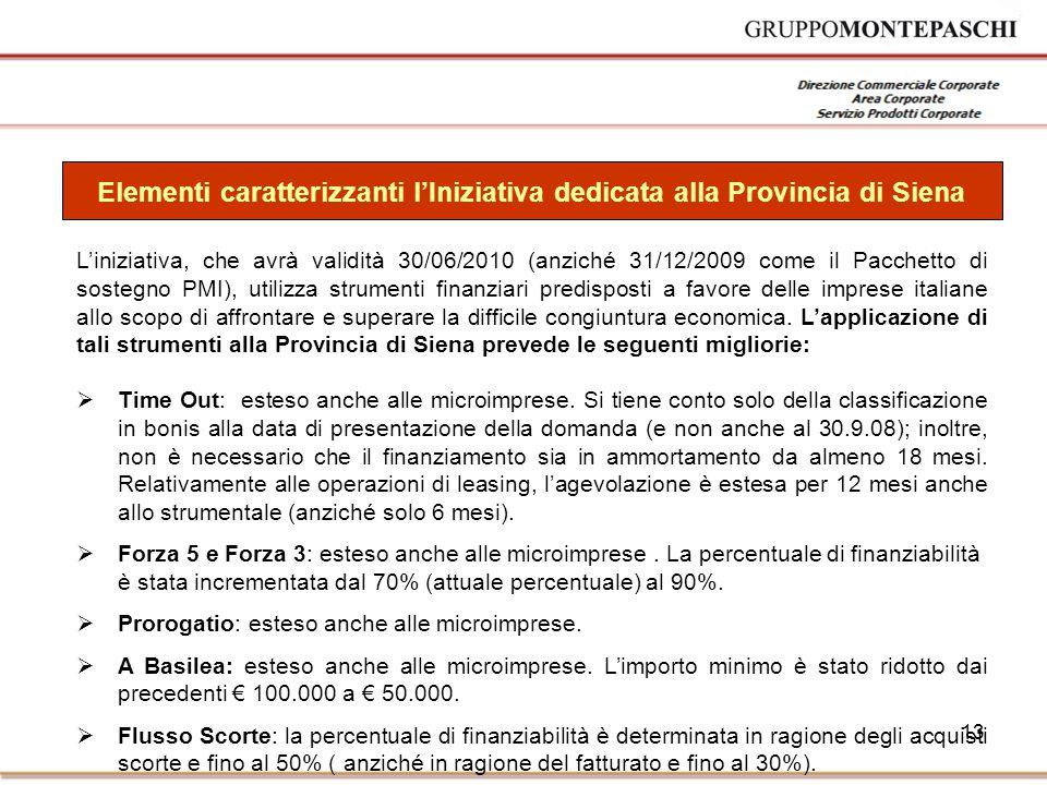 13 L'iniziativa, che avrà validità 30/06/2010 (anziché 31/12/2009 come il Pacchetto di sostegno PMI), utilizza strumenti finanziari predisposti a favore delle imprese italiane allo scopo di affrontare e superare la difficile congiuntura economica.