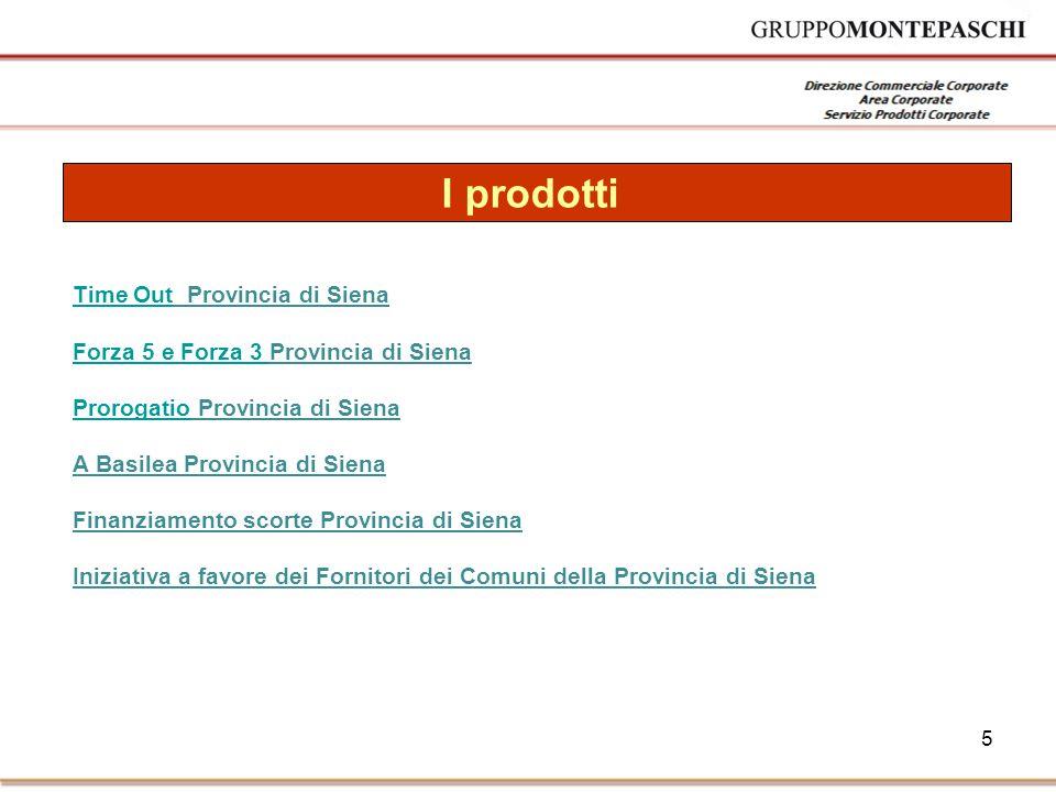 5 I prodotti Time OutTime Out Provincia di Siena Forza 5 e Forza 3 Forza 5 e Forza 3 Provincia di Siena ProrogatioProrogatio Provincia di Siena A Basilea Provincia di Siena Finanziamento scorte Provincia di Siena Iniziativa a favore dei Fornitori dei Comuni della Provincia di Siena