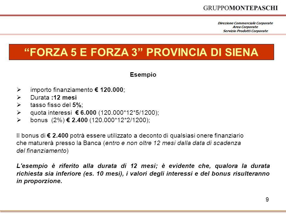 9 FORZA 5 E FORZA 3 PROVINCIA DI SIENA Esempio  importo finanziamento € 120.000;  Durata :12 mesi  tasso fisso del 5%;  quota interessi € 6.000 (120.000*12*5/1200);  bonus (2%) € 2.400 (120.000*12*2/1200); Il bonus di € 2.400 potrà essere utilizzato a deconto di qualsiasi onere finanziario che maturerà presso la Banca (entro e non oltre 12 mesi dalla data di scadenza del finanziamento) L esempio è riferito alla durata di 12 mesi; è evidente che, qualora la durata richiesta sia inferiore (es.