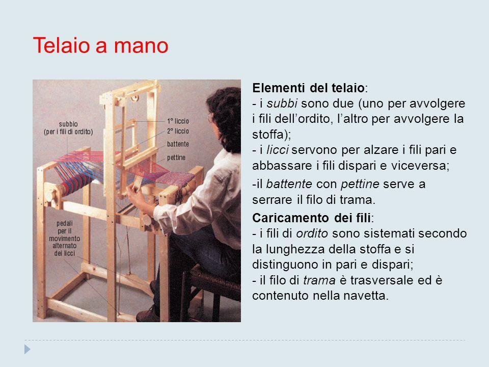 Telaio a mano Elementi del telaio: - i subbi sono due (uno per avvolgere i fili dell'ordito, l'altro per avvolgere la stoffa); - i licci servono per a