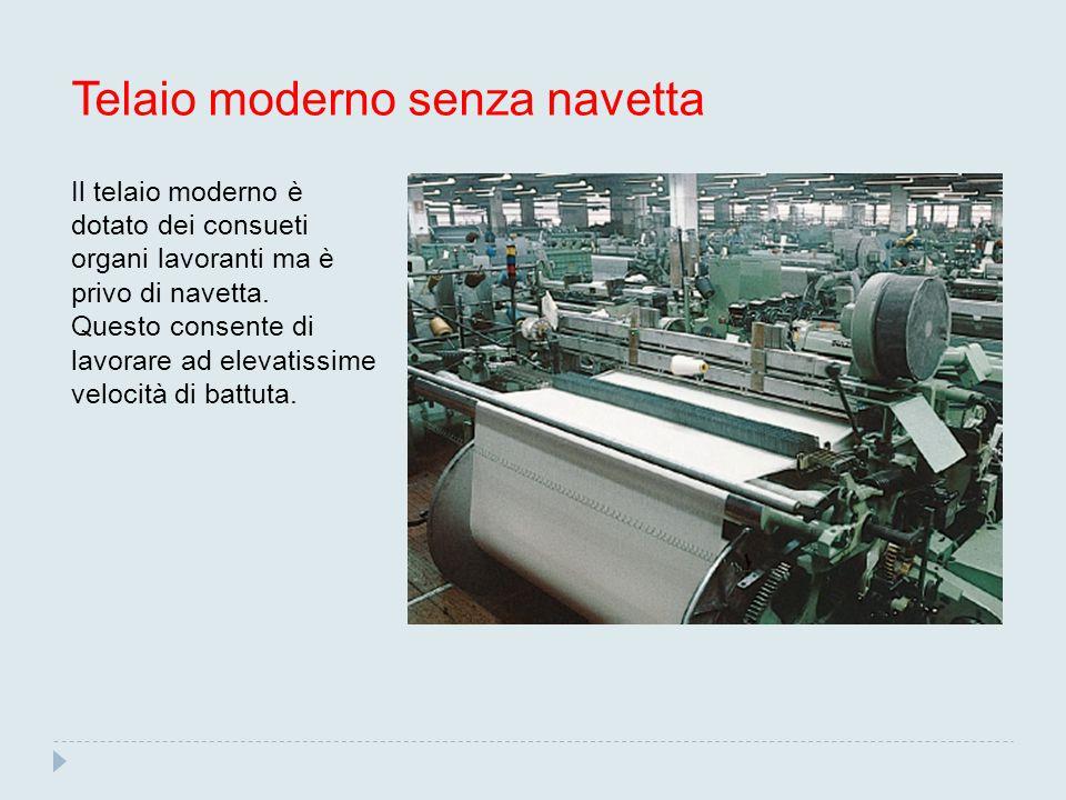 Telaio moderno senza navetta Il telaio moderno è dotato dei consueti organi lavoranti ma è privo di navetta.