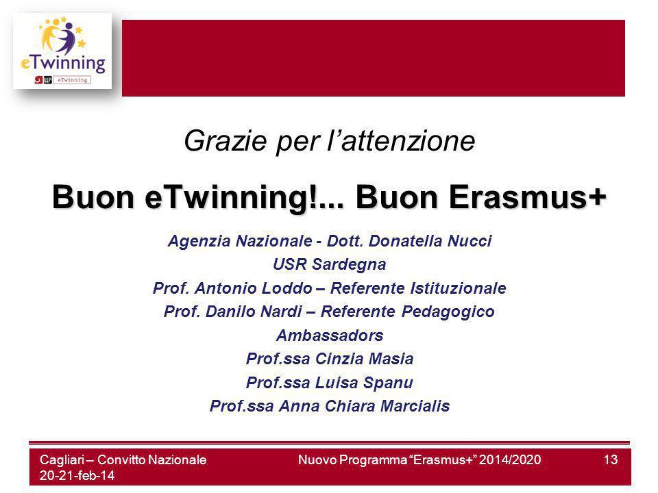 Nuovo Programma Erasmus+ 2014/202013 Grazie per l'attenzione Buon eTwinning!...