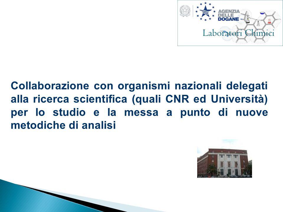 Collaborazione con organismi nazionali delegati alla ricerca scientifica (quali CNR ed Università) per lo studio e la messa a punto di nuove metodiche di analisi