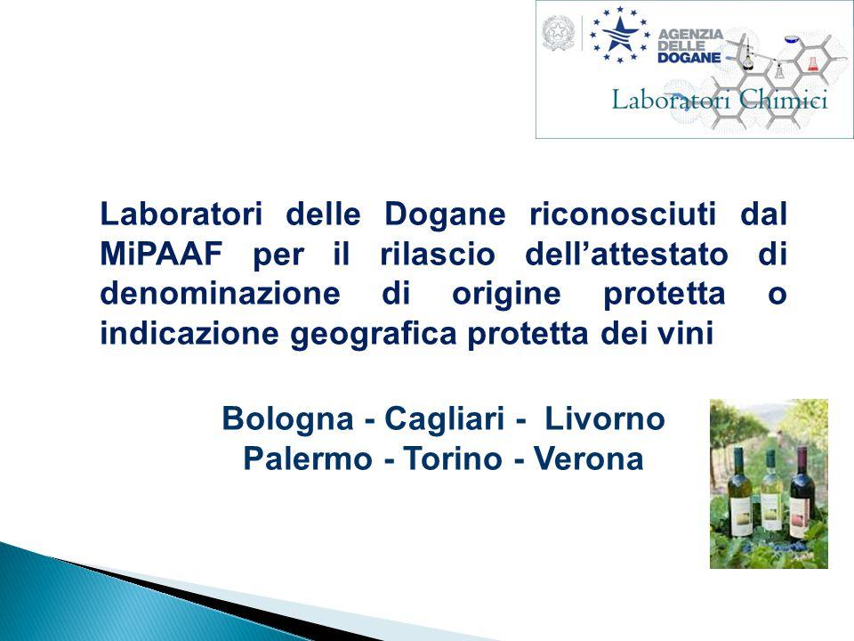 Laboratori delle Dogane riconosciuti dal MiPAAF per il rilascio dell'attestato di denominazione di origine protetta o indicazione geografica protetta dei vini Bologna - Cagliari - Livorno Palermo - Torino - Verona