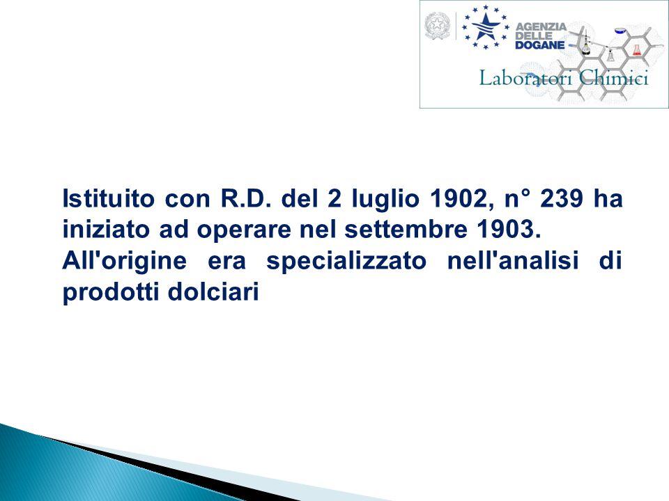 Istituito con R.D. del 2 luglio 1902, n° 239 ha iniziato ad operare nel settembre 1903.