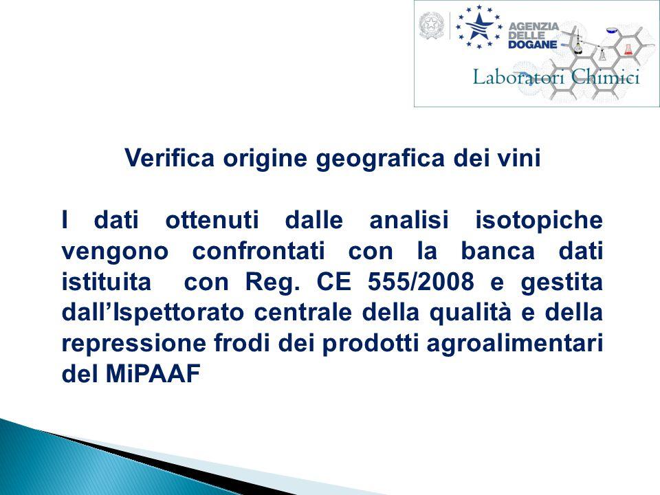 Verifica origine geografica dei vini I dati ottenuti dalle analisi isotopiche vengono confrontati con la banca dati istituita con Reg.