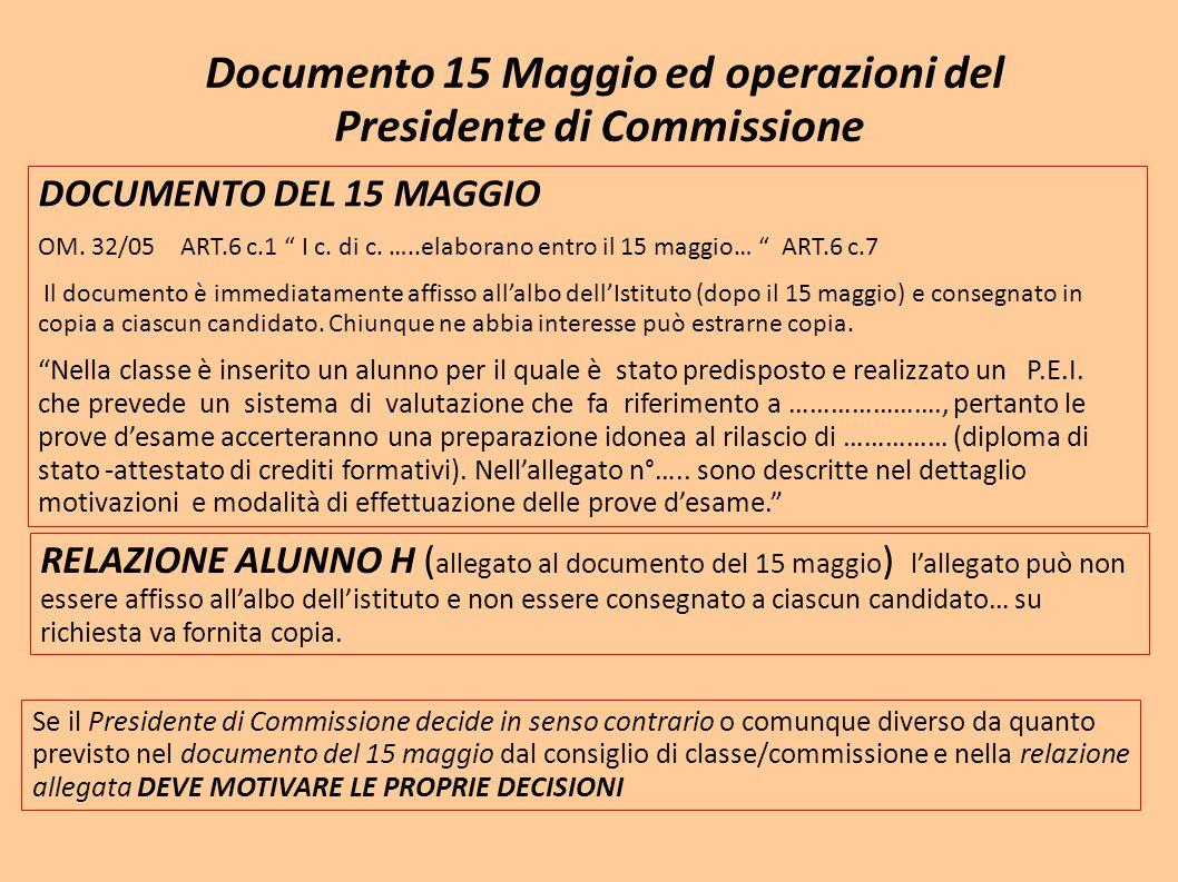 """Documento 15 Maggio ed operazioni del Presidente di Commissione DOCUMENTO DEL 15 MAGGIO OM. 32/05 ART.6 c.1 """" I c. di c. …..elaborano entro il 15 magg"""