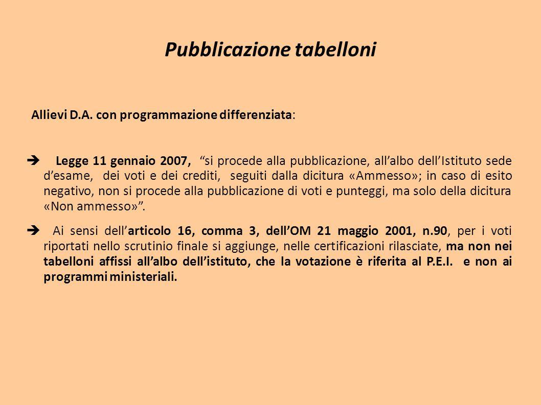 """Pubblicazione tabelloni Allievi D.A. con programmazione differenziata:  Legge 11 gennaio 2007, """"si procede alla pubblicazione, all'albo dell'Istituto"""