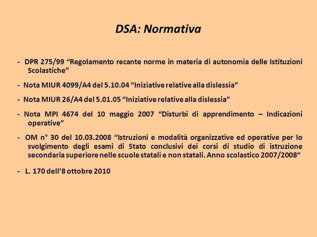 """DSA: Normativa - DPR 275/99 """"Regolamento recante norme in materia di autonomia delle Istituzioni Scolastiche"""" - Nota MIUR 4099/A4 del 5.10.04 """"Iniziat"""