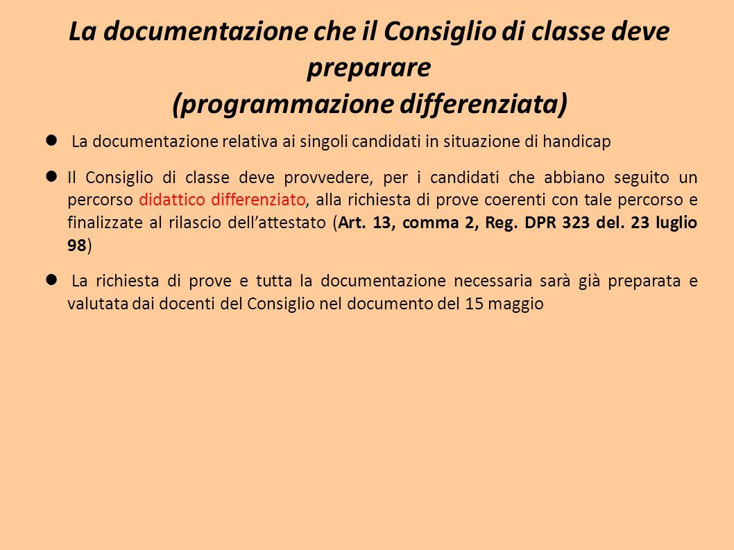 La documentazione che il Consiglio di classe deve preparare (programmazione differenziata) La documentazione relativa ai singoli candidati in situazio