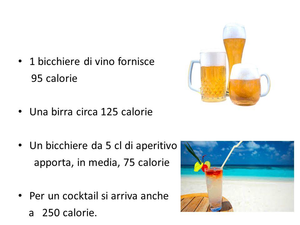 1 bicchiere di vino fornisce 95 calorie Una birra circa 125 calorie Un bicchiere da 5 cl di aperitivo apporta, in media, 75 calorie Per un cocktail si arriva anche a 250 calorie.