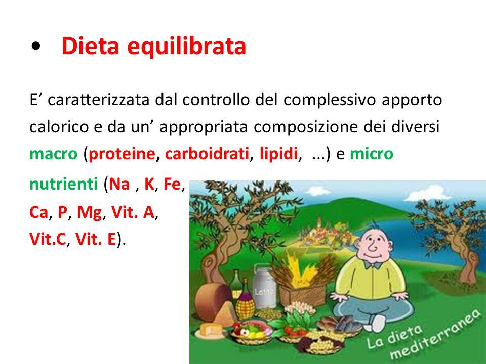 Dieta equilibrata E' caratterizzata dal controllo del complessivo apporto calorico e da un' appropriata composizione dei diversi macro (proteine, carboidrati, lipidi,...) e micro nutrienti (Na, K, Fe, Ca, P, Mg, Vit.