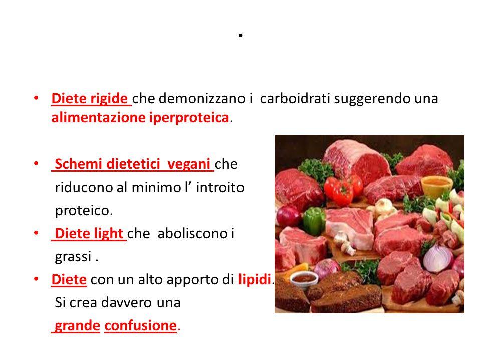 Diete rigide che demonizzano i carboidrati suggerendo una alimentazione iperproteica.
