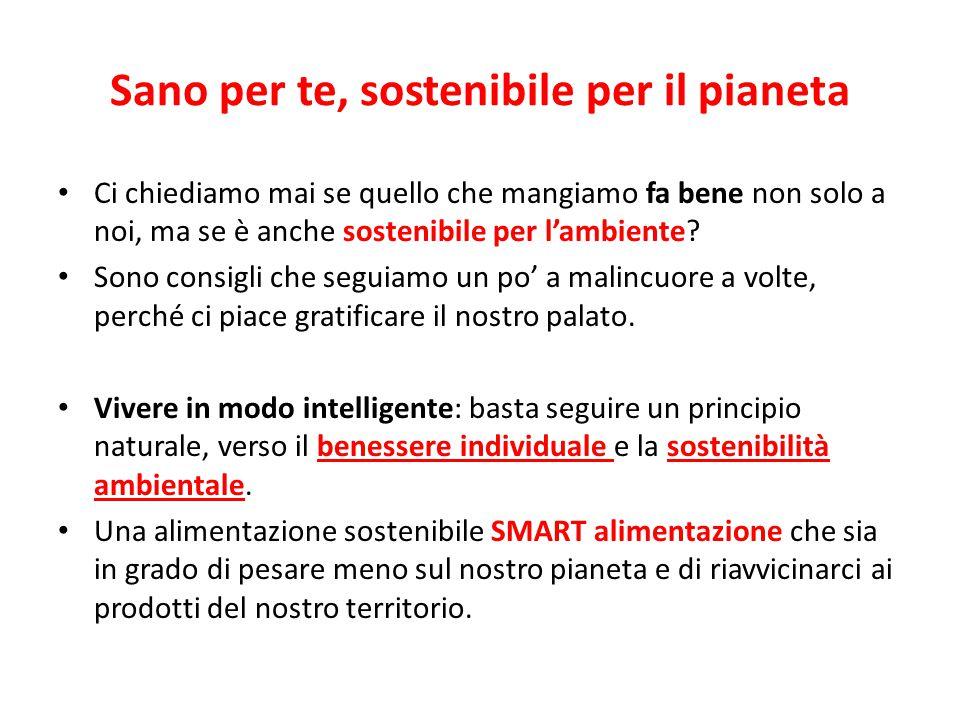 Sano per te, sostenibile per il pianeta Ci chiediamo mai se quello che mangiamo fa bene non solo a noi, ma se è anche sostenibile per l'ambiente.